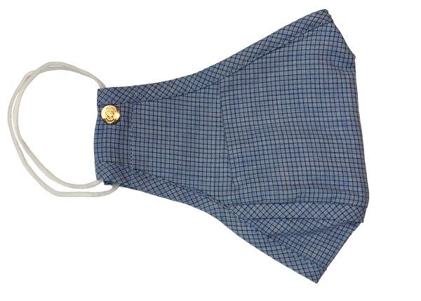 Blue on Blue Micro-Check Cotton Mask