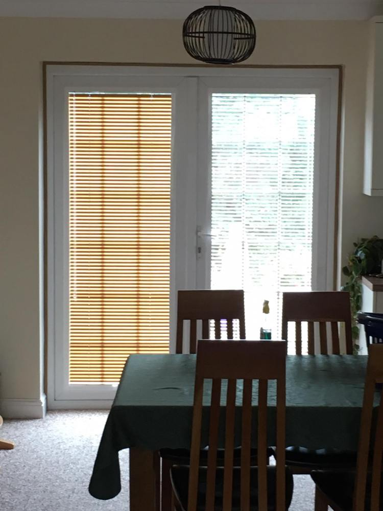 Perfect fit venetian blinds one open one closed