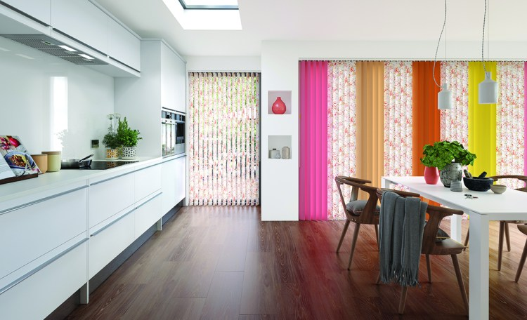 Multi coloured vertical blinds in kitchen