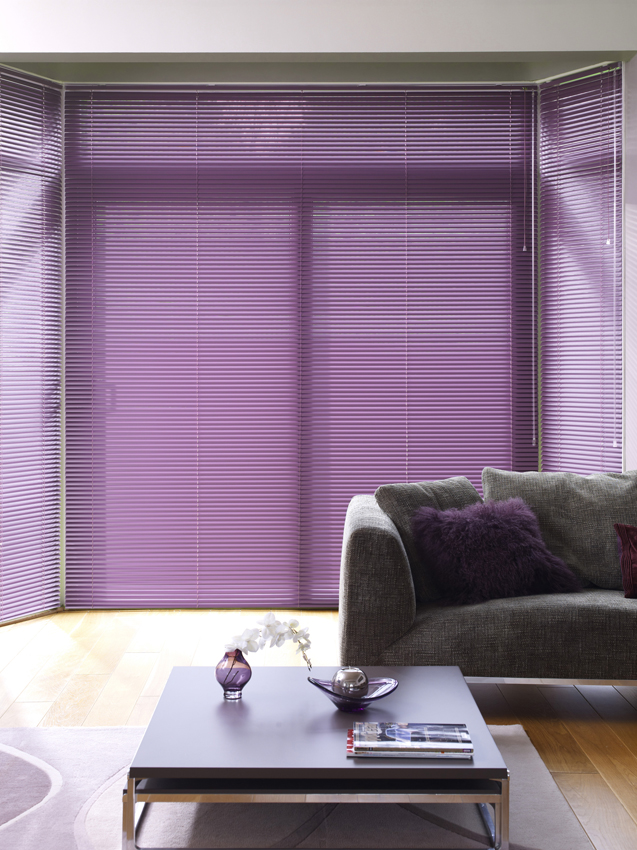 purple venetian blinds in bay window