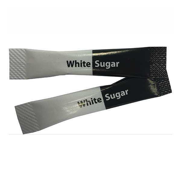 White sugar sachets