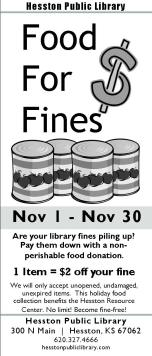 Food For Fines Rack Card