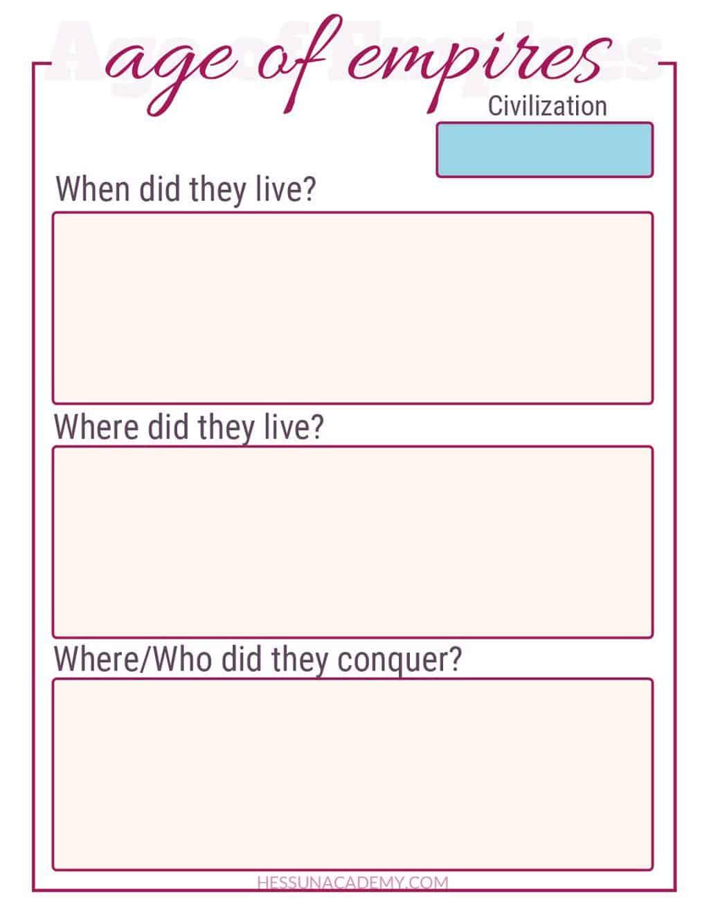 Age Of Empires Free History Worksheet Printable