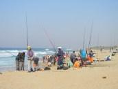 Fishing rods everywhere Hibberdene beach