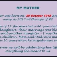 Celebrating Mom's Life (1918-2015)