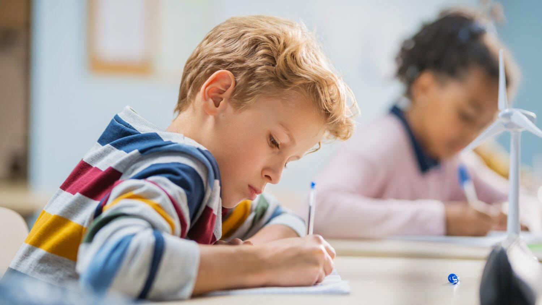 Het Gezinsleven - Moeder en kind - Kinderen 1-4 jaar - Ontwikkeling van de woordenschat bij kinderen - Jongen leert schrijven