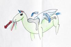 Tekening6: Eenhoorn geeft liefde met vleugels