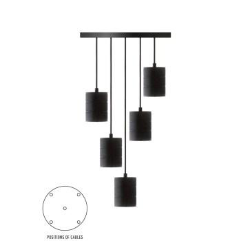 Pendel 5 lichts 200cm zwart/zwart E40 965252