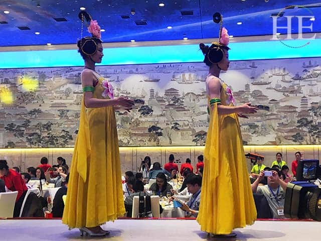 elegant lady performers at a water banquet in luoyang china