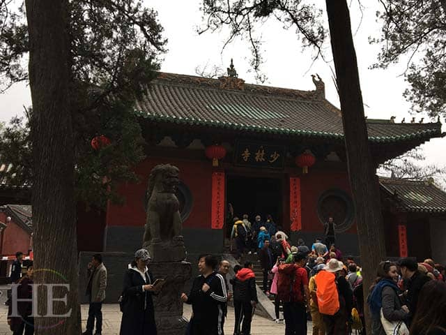 tourists buzz around the shaolin temple in china