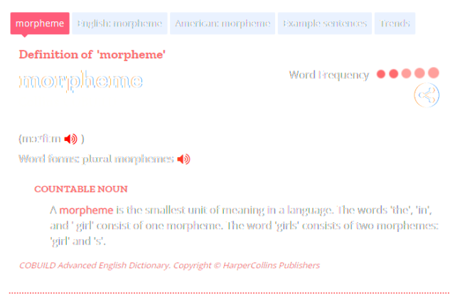 Collins Dictionary - Morpheme