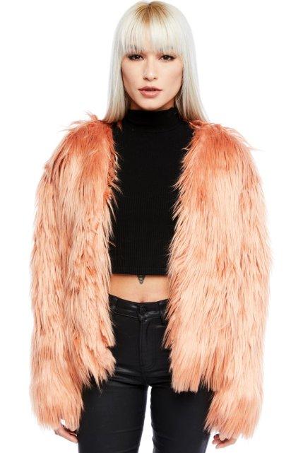 Pink Flamingo Faux Fur Open Shaggy Jacket