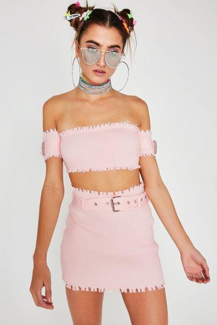 Pink Matching Buckle Skirt Set