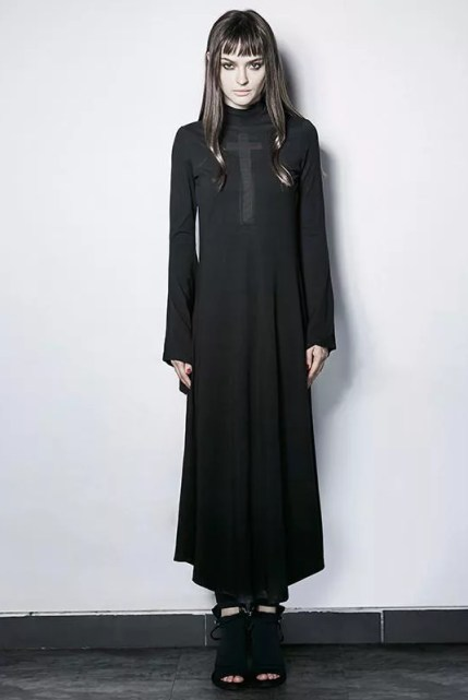 Punk Rave Gothic Cross Trumpet Sleeve Witch Maxi Dress