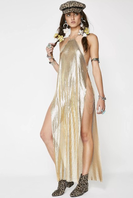 Festival Chainmail Midi Gold Dress