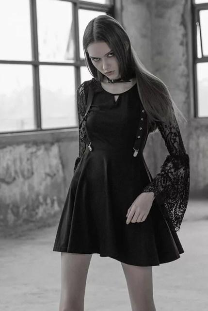 Punk Rave Lace Sleeve Ritual Dress