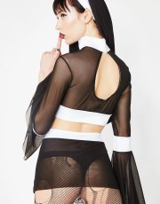 Halloween Naughty Nun Sheer Costume Set