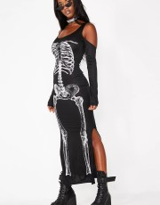 Halloween Cold Shoulder Skeleton Black Dress