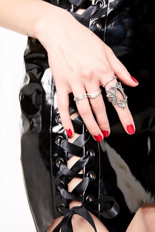 Halloween Silver Bat Ring