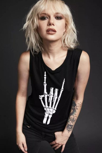 Hell Raiser Skeleton Heavy Metal Hand Loose Fit Tank Top