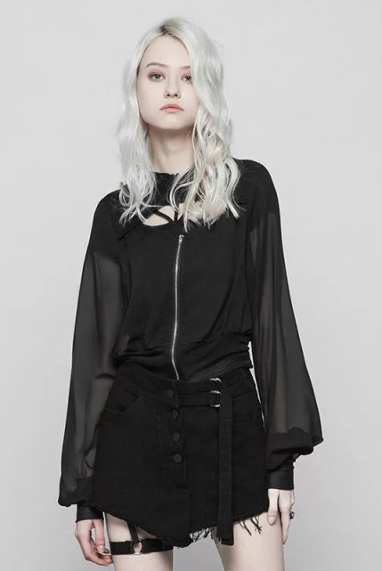 Punk Rave Deep Hooded Sheer Punk Coat
