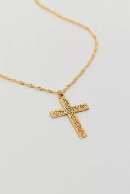Regal Rose Floral Cross Necklace