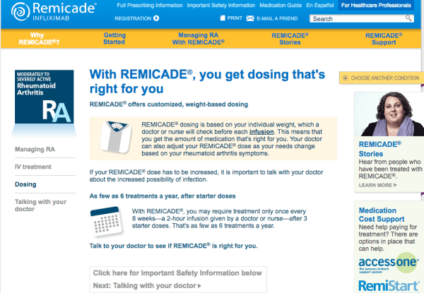 Dosing section now on REMICADE website