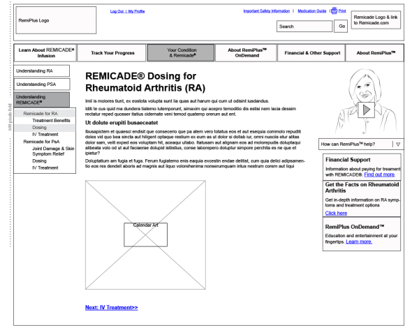 Dosing section from original wireframe
