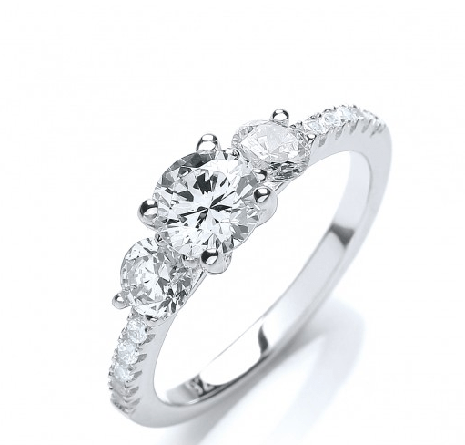 1 20ct CZ Crystal White Gold Finish Engagement Ring on 925 Sterling Silver