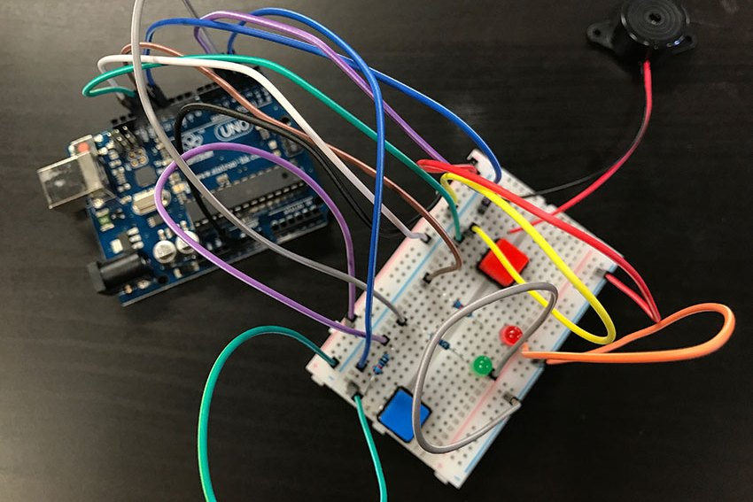 Arduino board and breadboard from Node Girls JavaScript workshop – wires in focus