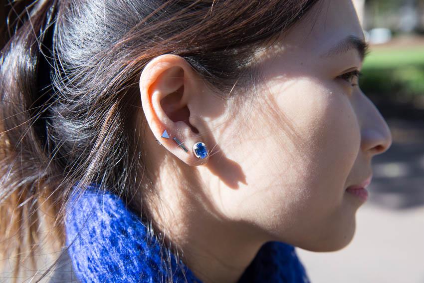 Close shot of my blue kyanite earrings