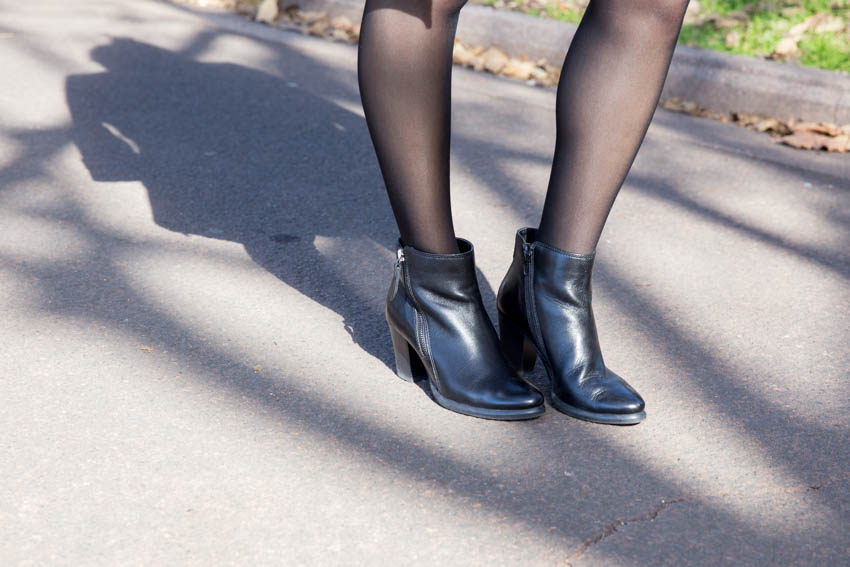 Close up shot of my heeled boots with my shadow behind me