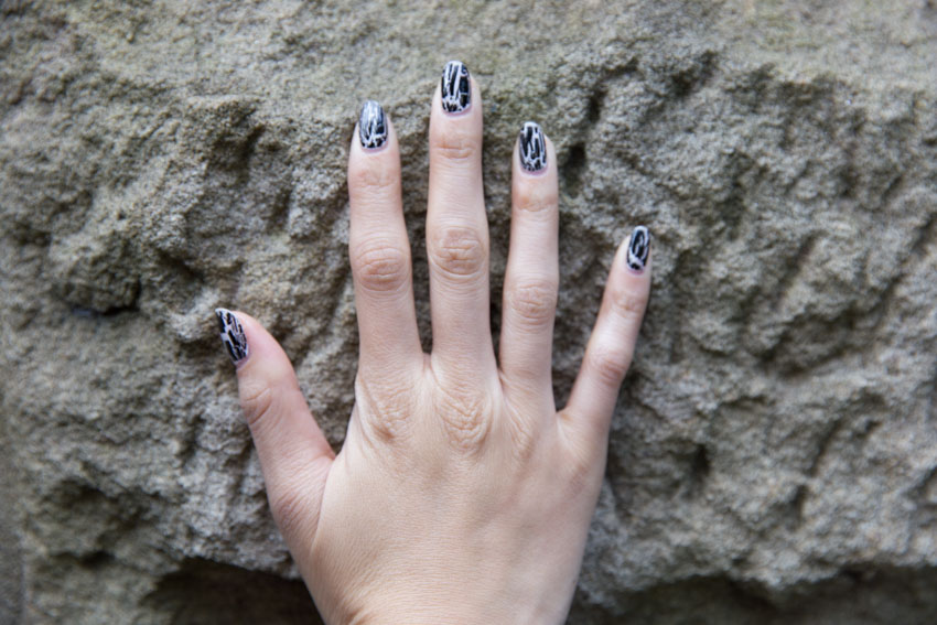 Close up of my shatter-look nail art