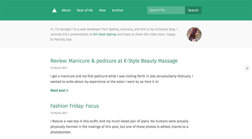 Screenshot of my blog with dark green theming for St Patrick's Day