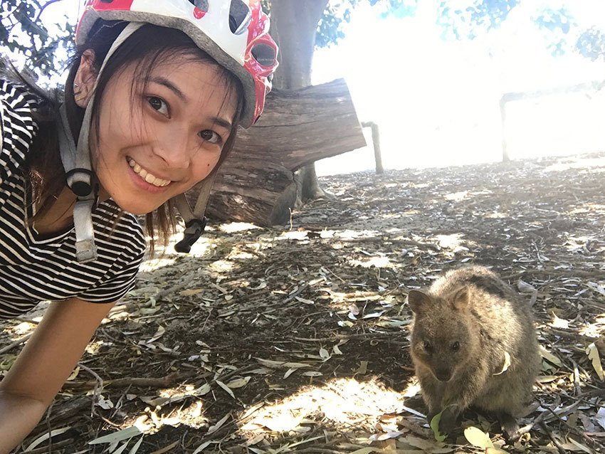 Me taking a selfie with a quokka on Rottnest Island