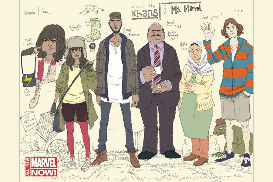 """A drawing of """"Kamala & Fam"""" from Marvel Comics' Ms. Marvel series features the franchise's first Muslim character and family."""