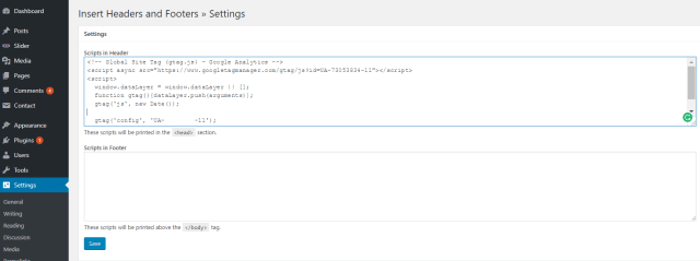 How do I Install my Google Analytics - WordPress Code Injection
