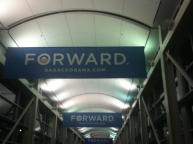 FORWARD signs lining the halls on election night