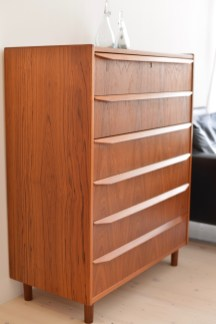 Teak Highboy with Per Lutken vases by Holmegaard