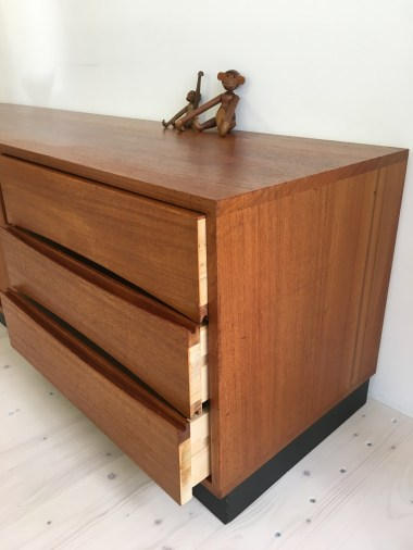 Teak Sideboard with Sliding Doors and Monkeys