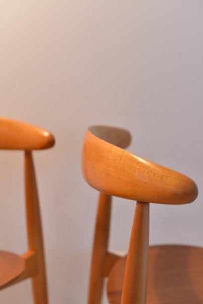 Pair of Hans Wegner Heart Chairs 1950s Fritz Hansen