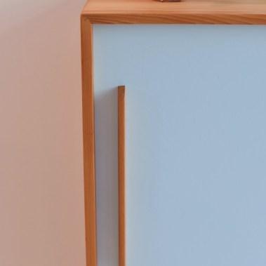 Tannenholz Kommode / Sliding Door Cabinet (Light Blue)