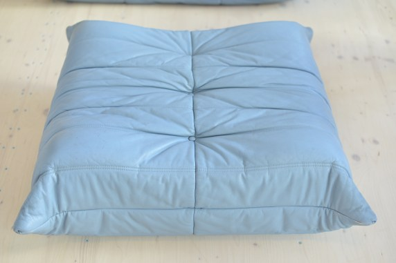Michel Ducaroy Blue Leather Togo Loveseat and Pouf by Ligne Roset France