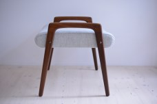 Afromosia Hocker Footstool with Grey Kvadrat Fabric heyday möbel moebel Zürich Zurich Binz