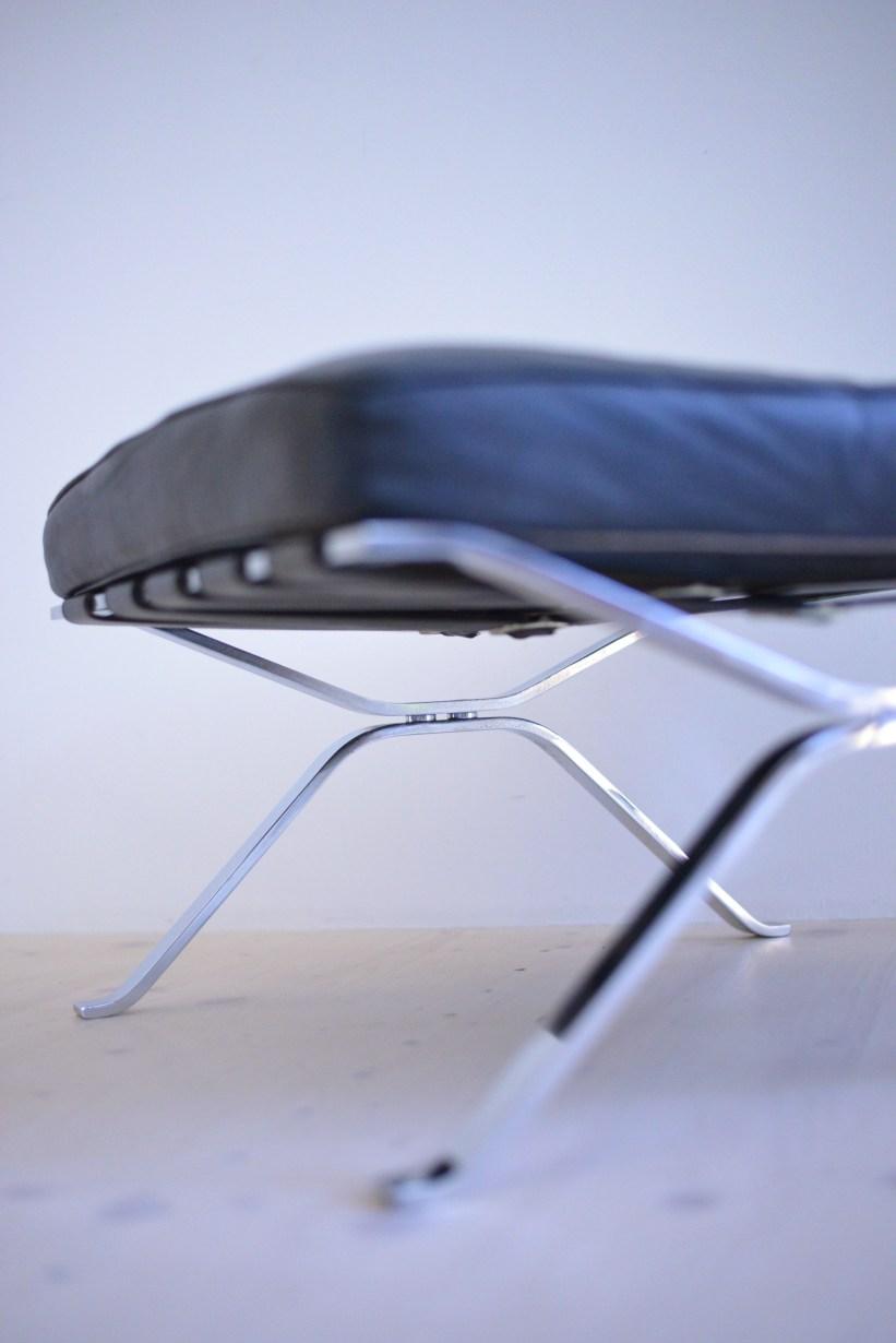 Robert and Trix Haussmann Ottoman Leather and Chromed Flat Steel De-Sede RH-301