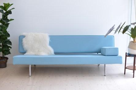 Ernst Ambühler Sofa Newly Upholstered Blue heyday möbel Binz