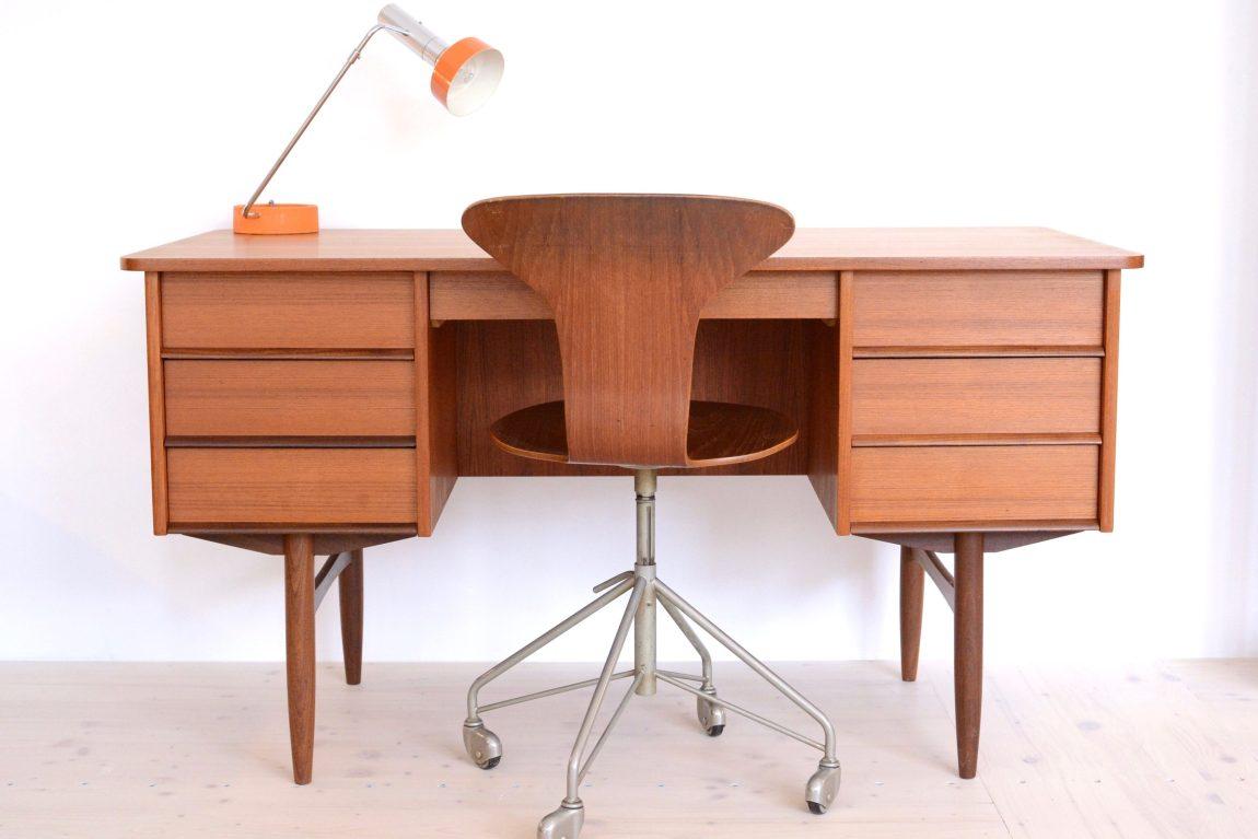 Mid Century Teak Double-sided Desk with Cubby heyday möbel moebel Zürich Zurich Binz
