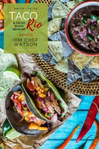 Taco Rio with Cacao Black Bean Dip inspired by Chef Watson | via @dipyourtoesin