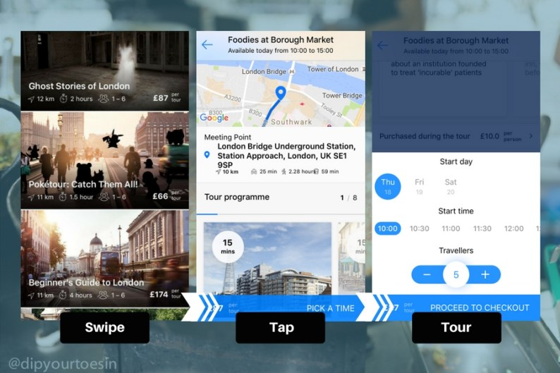 PlanetPass London Walking Tour IOS App Booking Screens