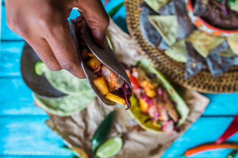 Picking up Taco Rio with Cacao Black Bean Dip inspired by Chef Watson | via @dipyourtoesin